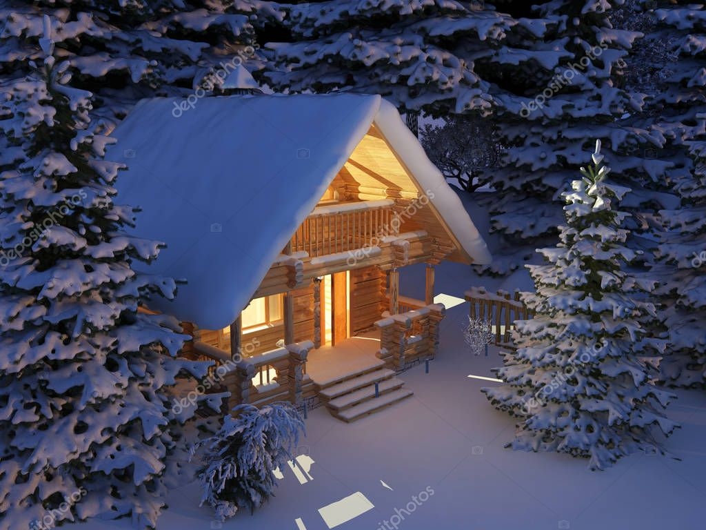 Wooden house ,3d render