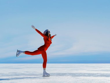 Figure skating. ,3d render