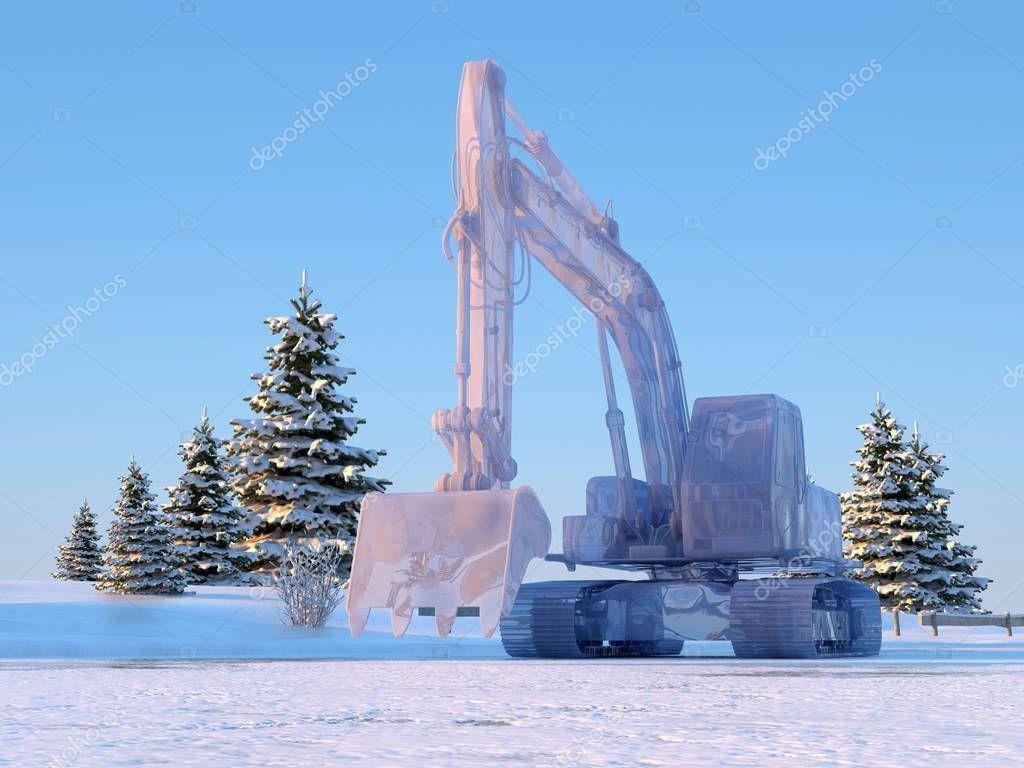 Excavator ice.,3d render