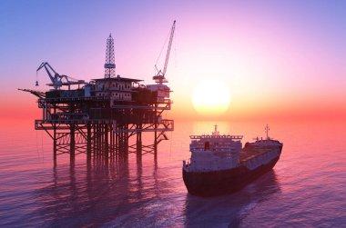 Oil Rig,3d render