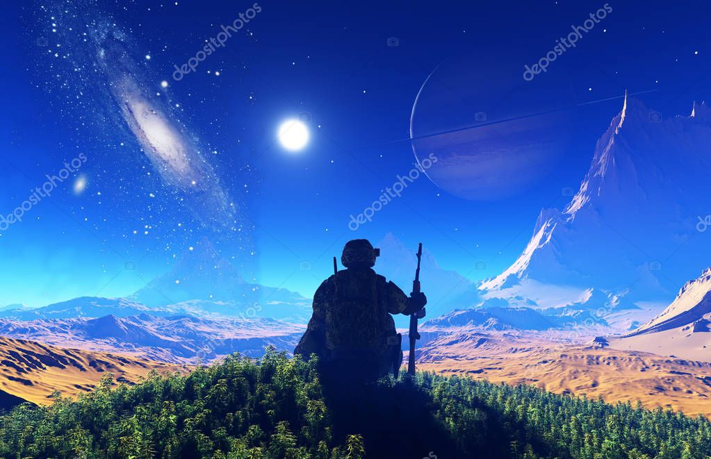 A soldier in the background of the starry sky.,3d render