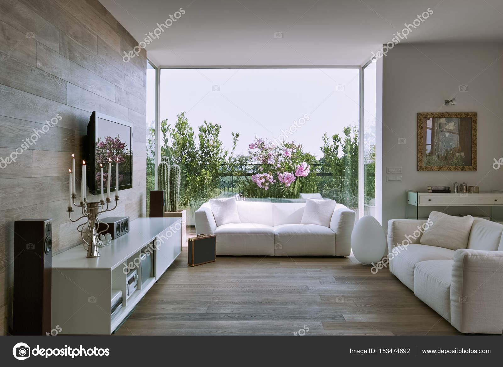 Binnenaanzicht van een moderne woonkamer u stockfoto