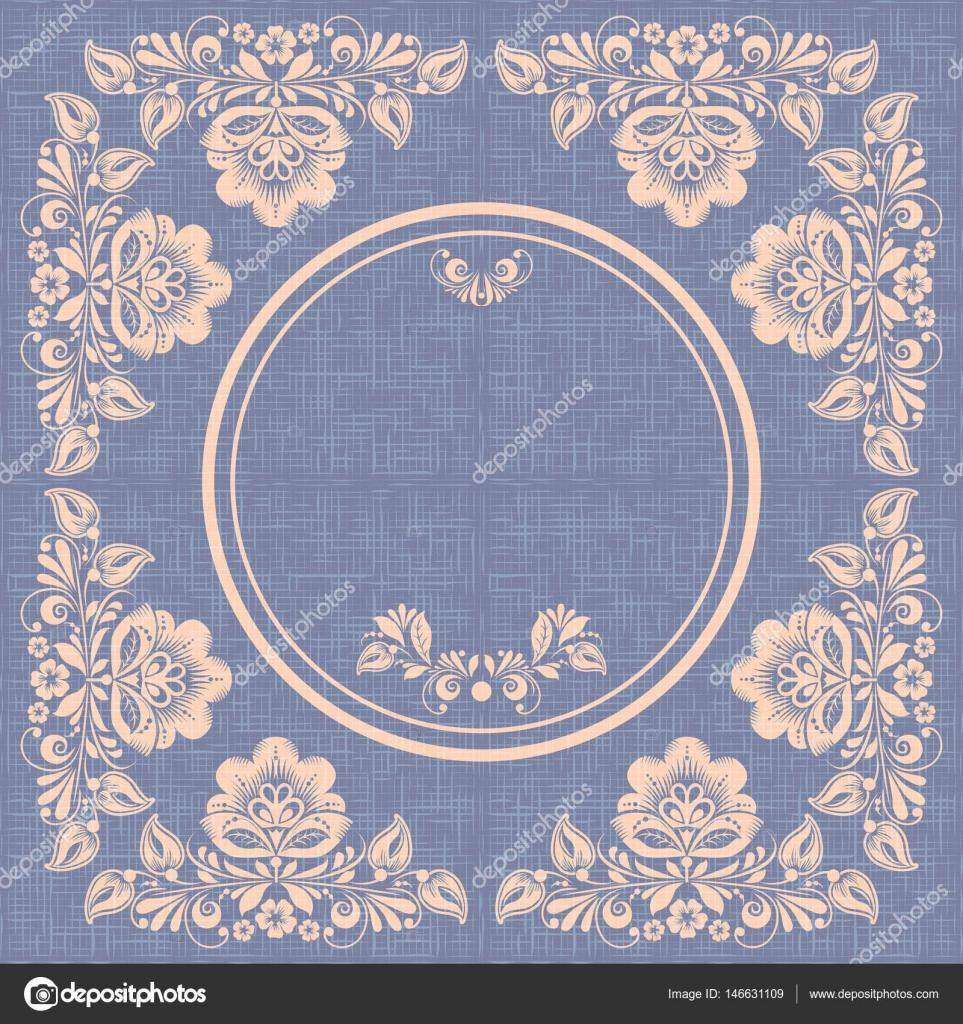 Vector marco de círculo vintage, estilo hohloma, arpillera — Archivo ...