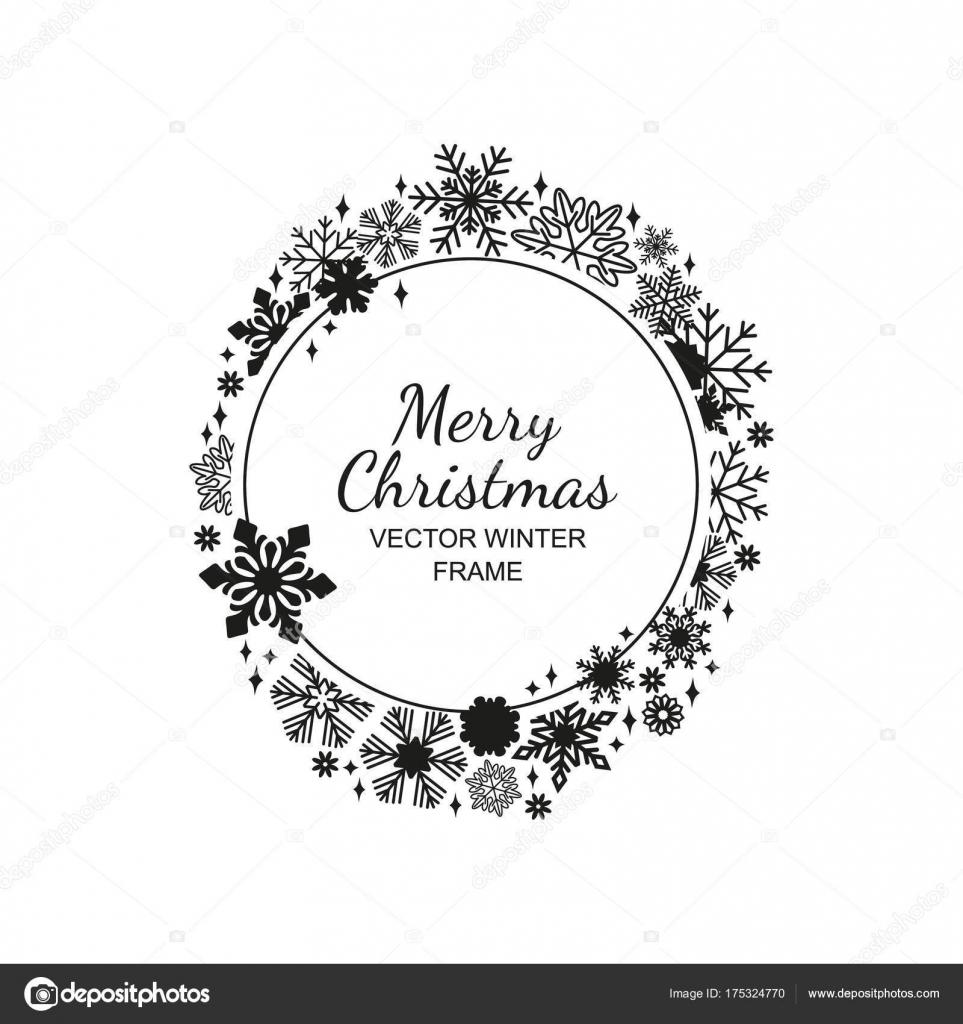 Schwarz Weiß Kreis Schneeflocke Frame Weihnachten Stockvektor