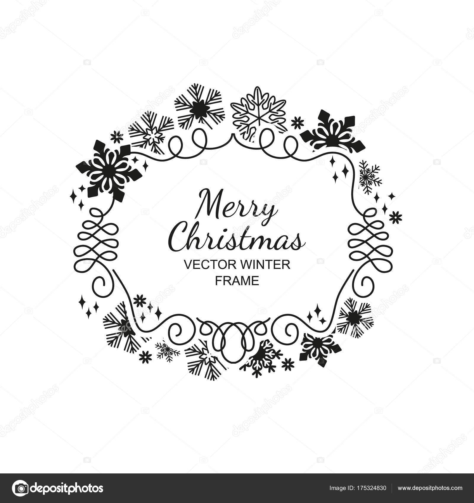 fond de cadre, blanc flocon de neige, noël noir — image vectorielle