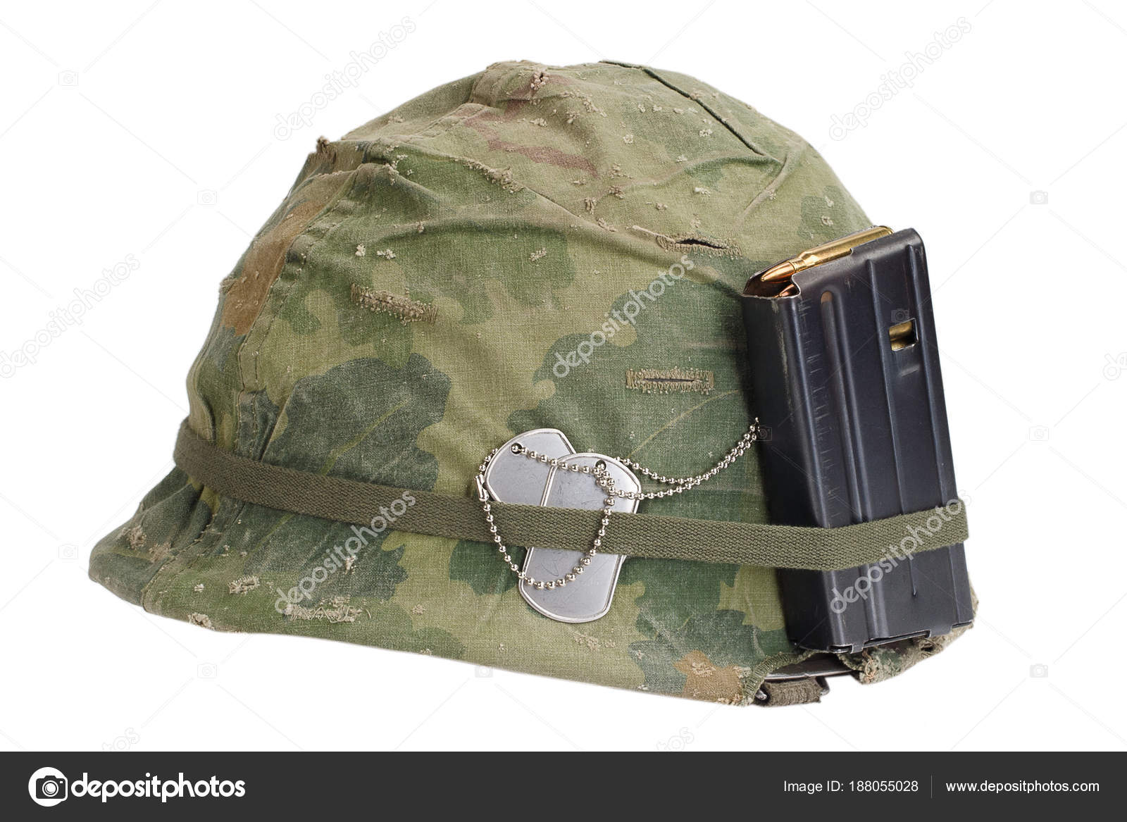 Pictures Army Helmets Army Helmet Vietnam War Period Camouflage Cover Magazine Ammot Dog Stock Photo C Zim90 188055028