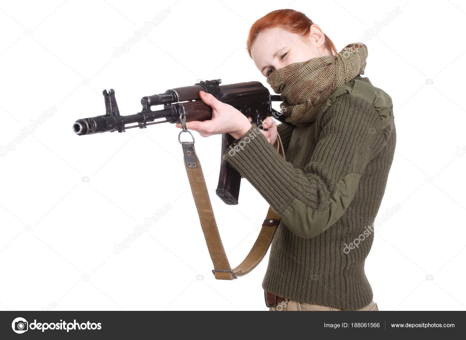 Pusher Girl shooting a tactical ak 47 assault rifle in