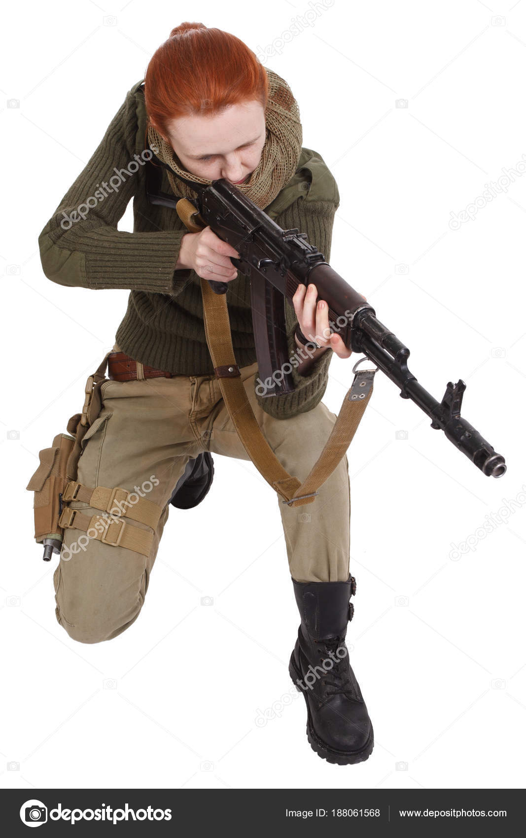 Girl mercenary with ak-47 rifle — Stock Photo © zim90 #188061568