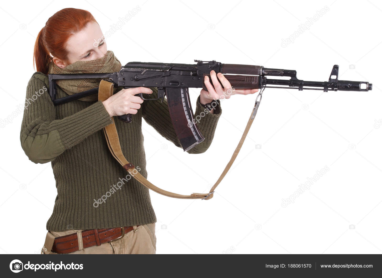 Girl mercenary with ak-47 rifle — Stock Photo © zim90 #188061570