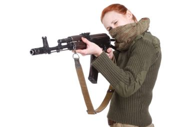 girl mercenary with ak-47 rifle