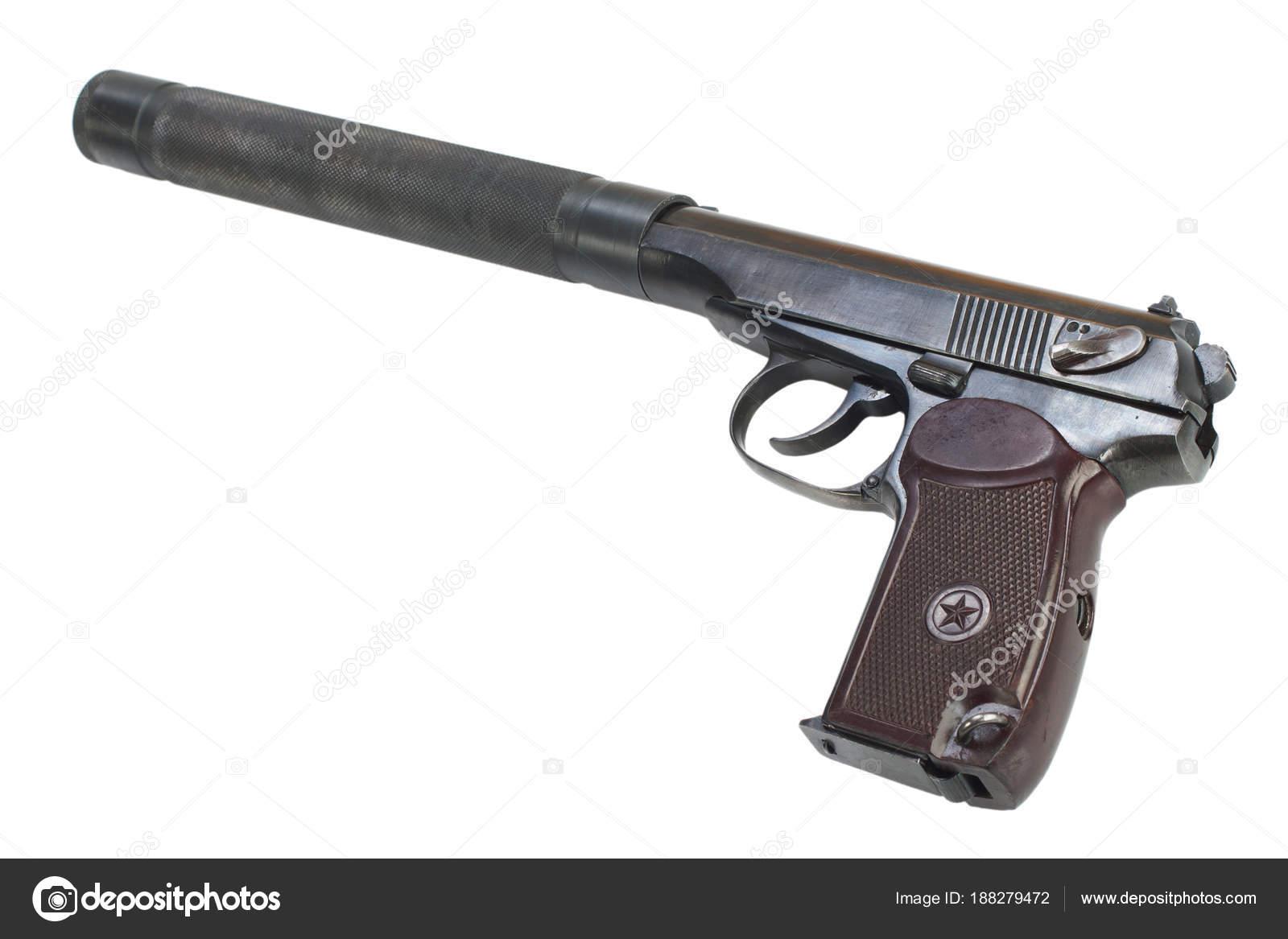 ussr makarov pistol silencer isolated stock photo zim90 188279472