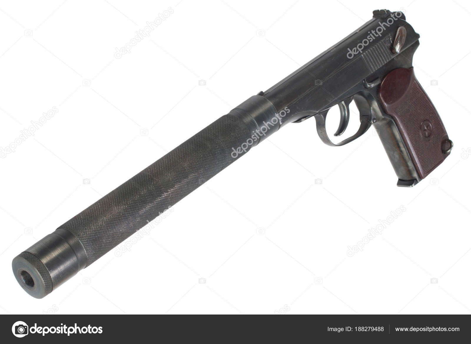 ussr makarov pistol silencer isolated stock photo zim90 188279488