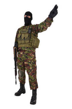 Ukrainian paramilitary volunteer with kalashnikov rifle isolated on white