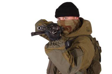 shooter with kalashnikov rifle isolated on white background
