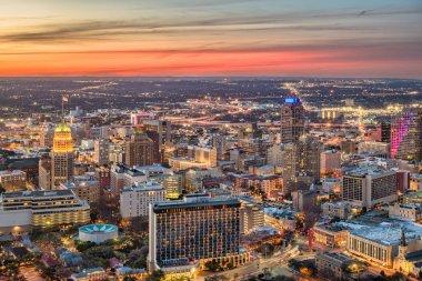 San Antonio, Texas, USA downtown city skyline at dusk.