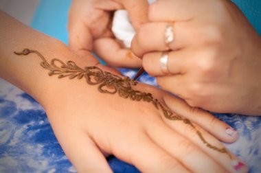 process of drawing henna on hand