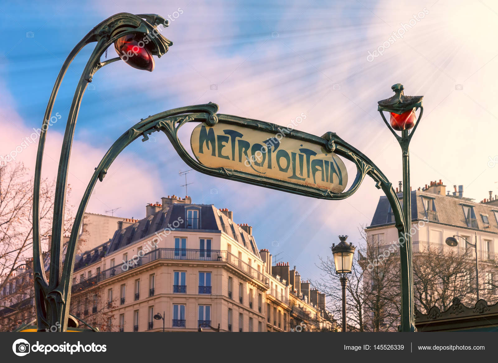 Art Nouveau entrance sign of Paris Metro, France – Stock Editorial ...