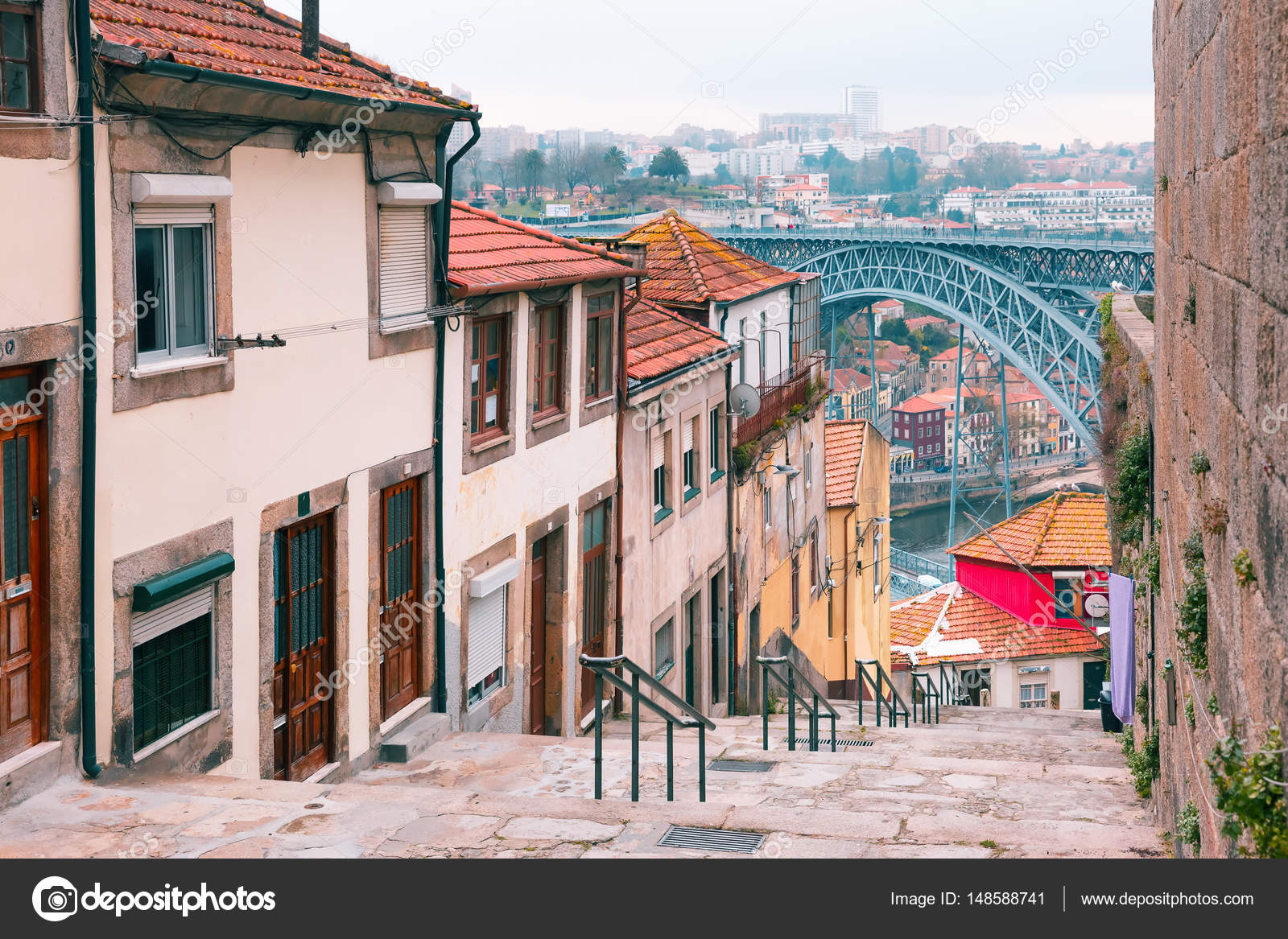 Old Houses And Stairs In Ribeira, Porto, Portugal U2014 Stock Photo