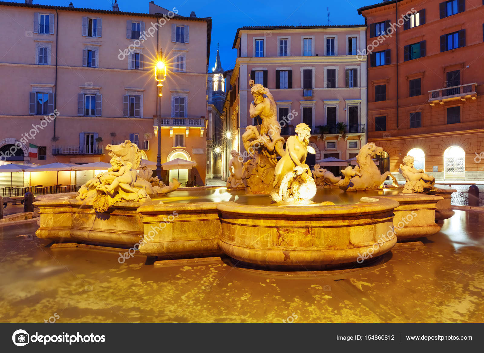 Fuente De Neptuno En La Plaza Navona Roma Italia Fotos De Stock