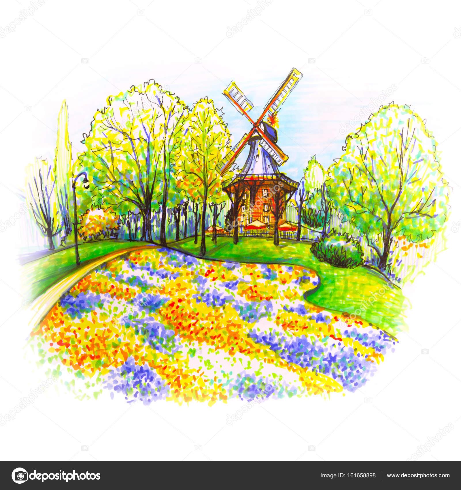 Am Wall Windmill in Bremen, Germany — Stock Photo © olgacov #161658898
