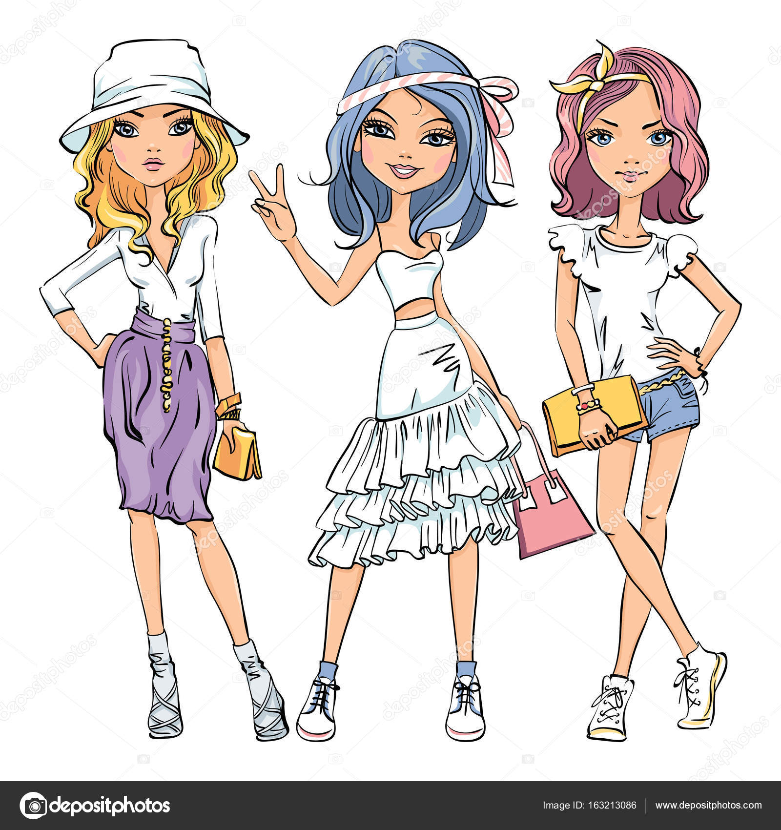 かわいいおしゃれな女の子のベクトルを設定 — ストックベクター