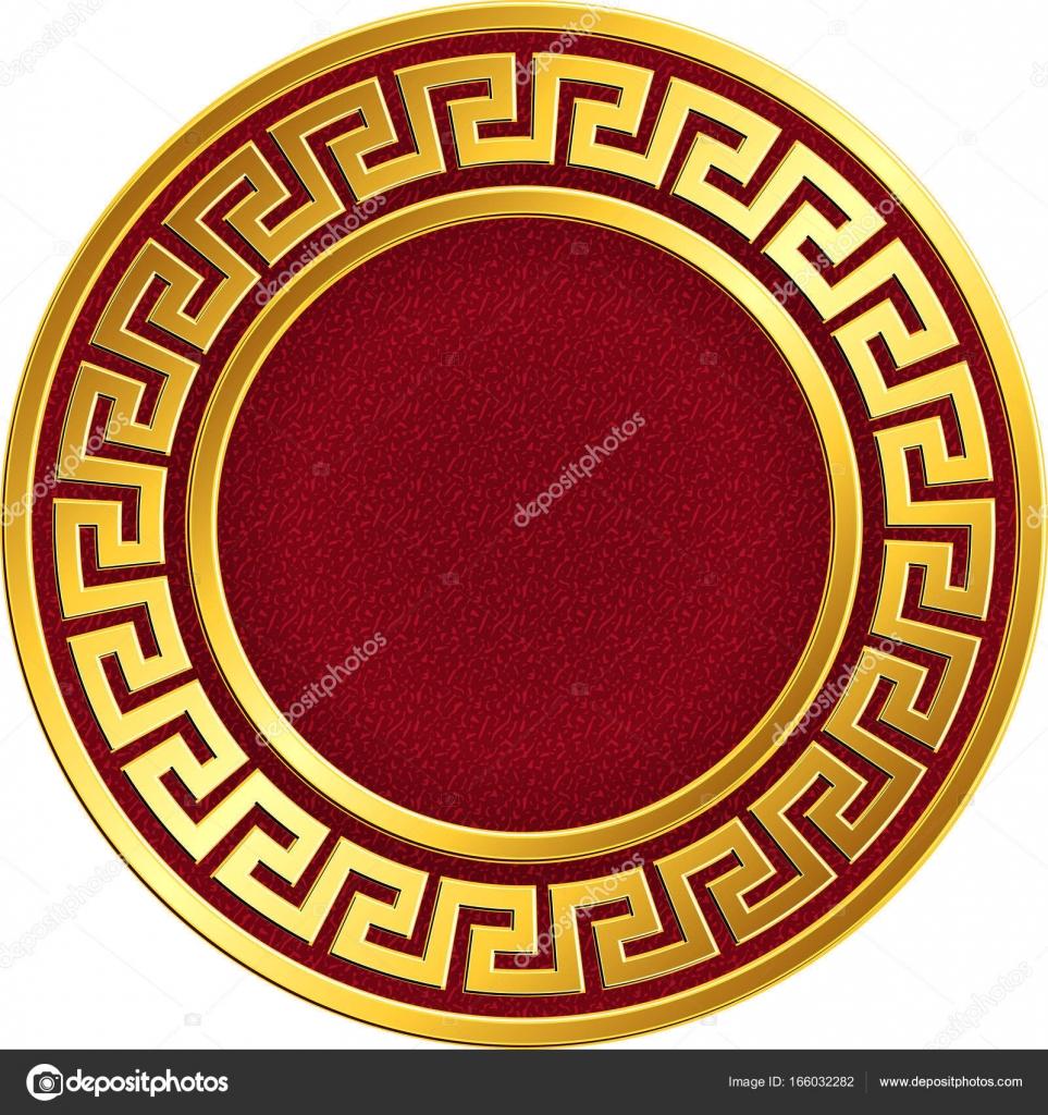 Runde Goldrahmen mit griechische Mäander-Muster — Stockvektor ...