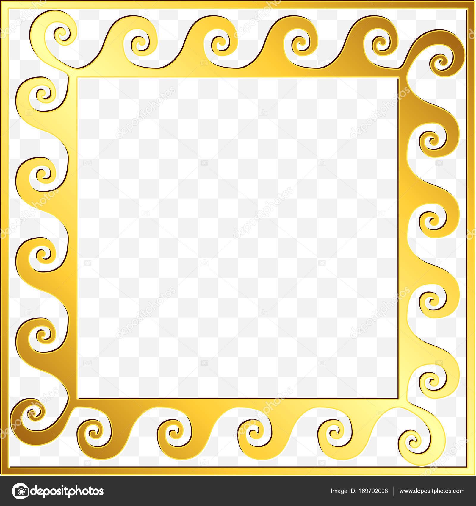 bfb7a4ec939d Square frame with traditional vintage Golden Greek ornament