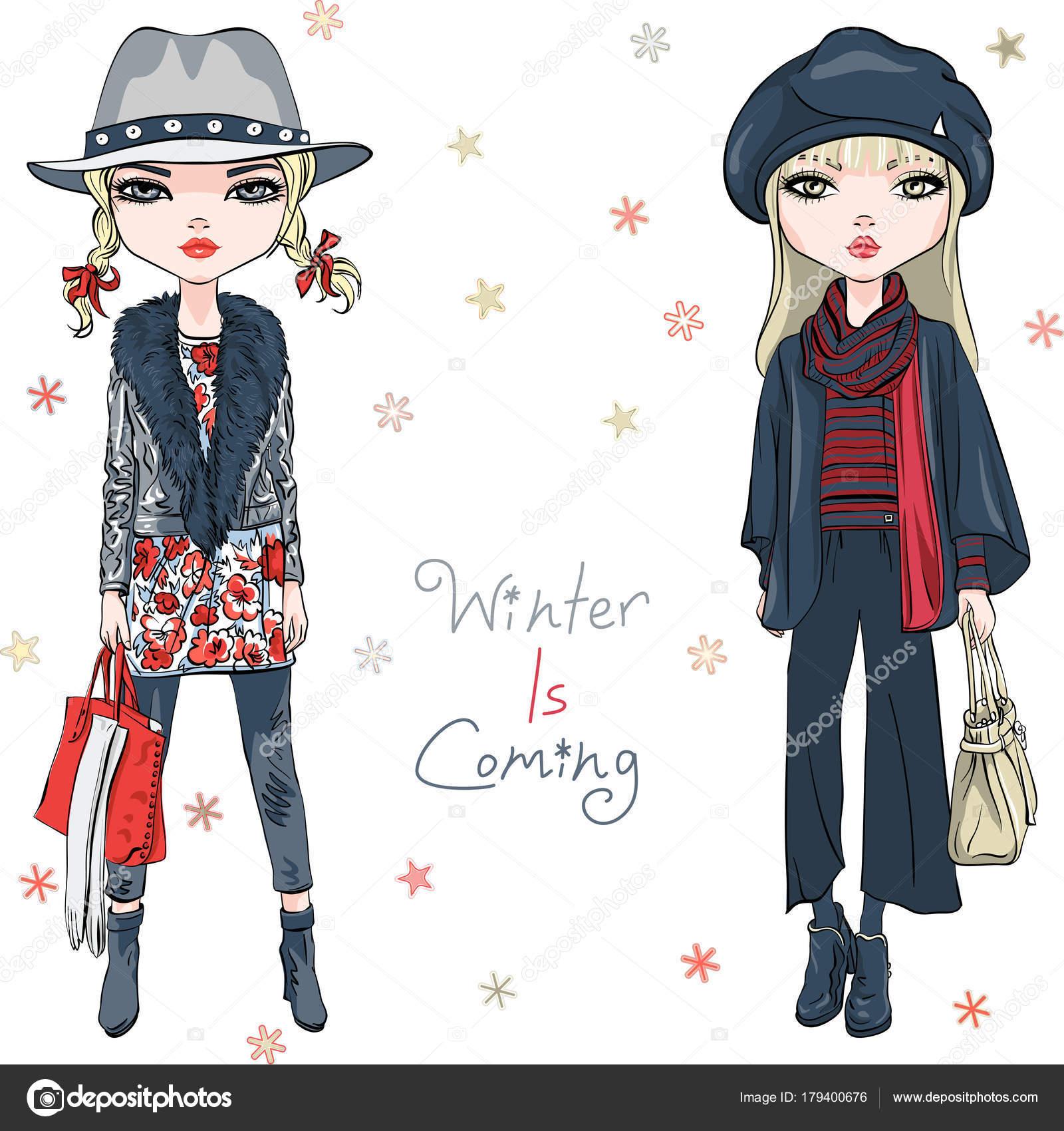 Chicas de moda vector en ropa de invierno — Vector de stock ... 4e79dc55217e