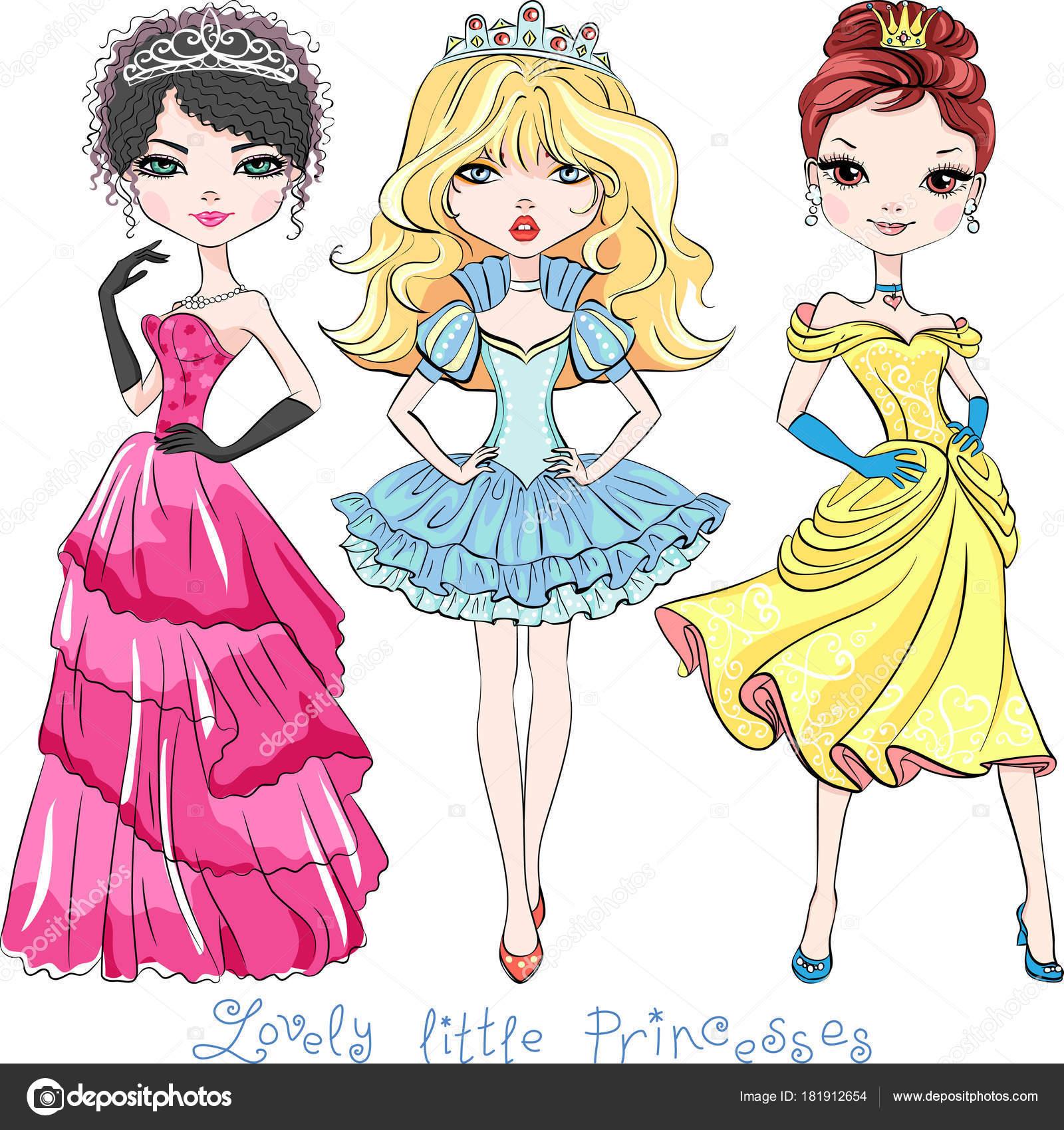 美しいファッションの少女お姫様をベクトルします ストックベクター