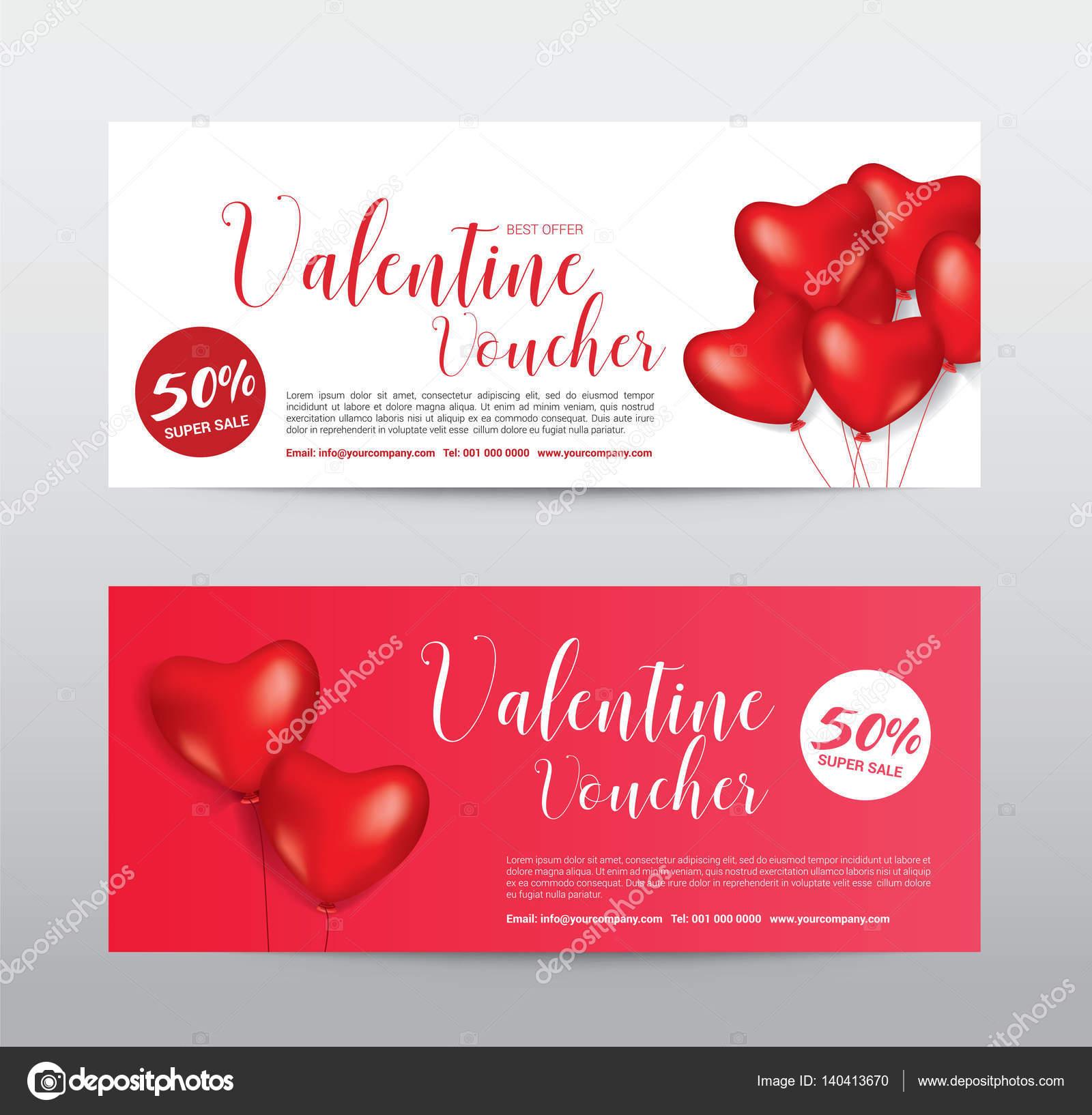 Happy Valentinstag, Geschenk-Gutschein-Coupon Banner Karte Förderung ...