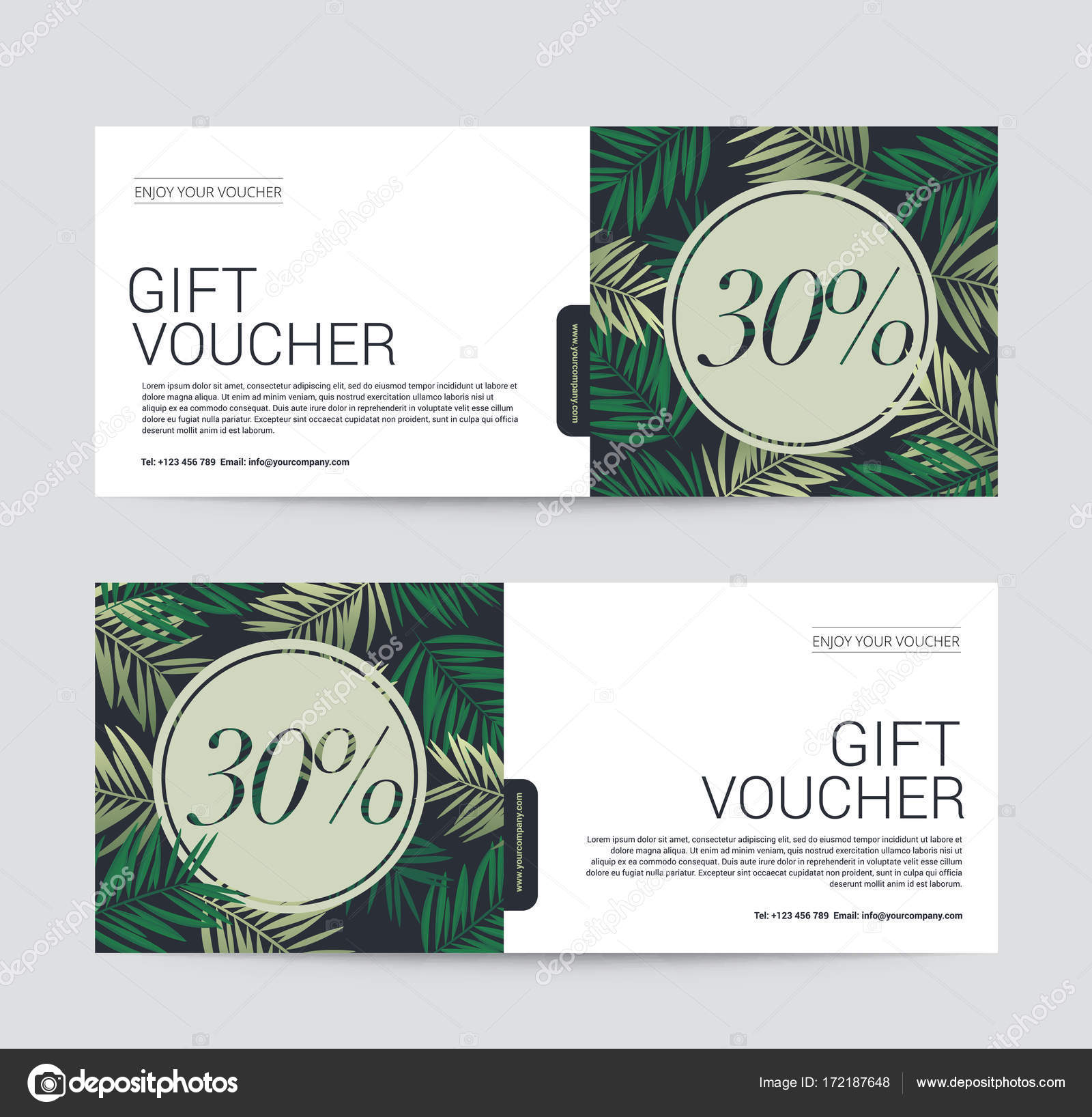 Gift Voucher Template Premium For Spa Hotel Resort Coconut Palm