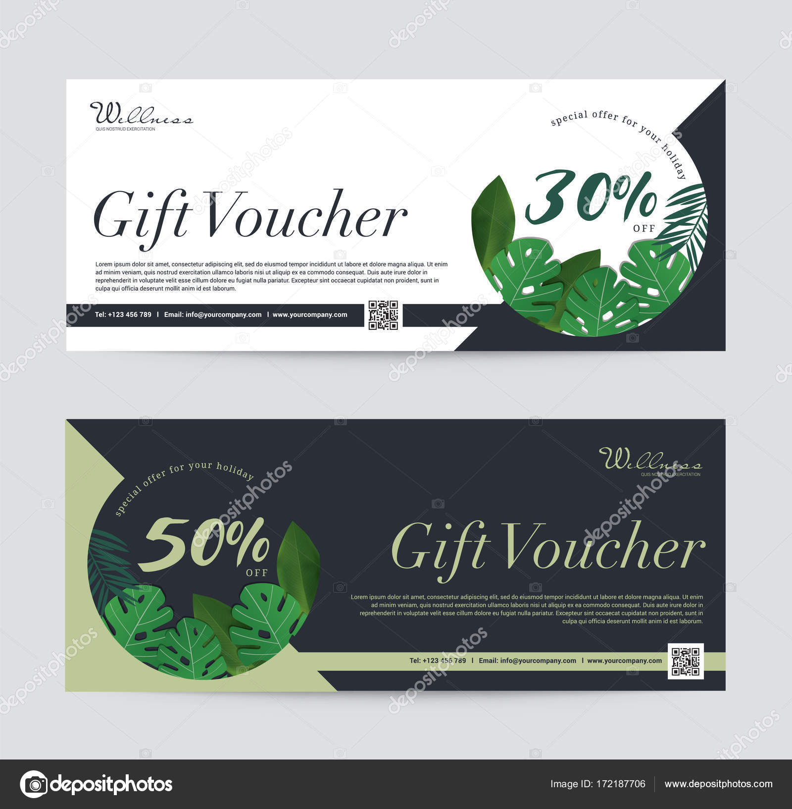 Gift Voucher template premium for Spa, Hotel Resort, Coconut palm ...
