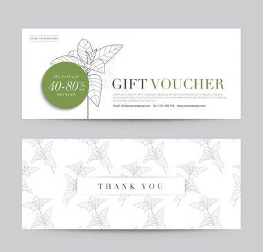 Gift Voucher flyer template for Spa, Hotel Resort, Botanic Pattern. Abstract Background Vector illustration