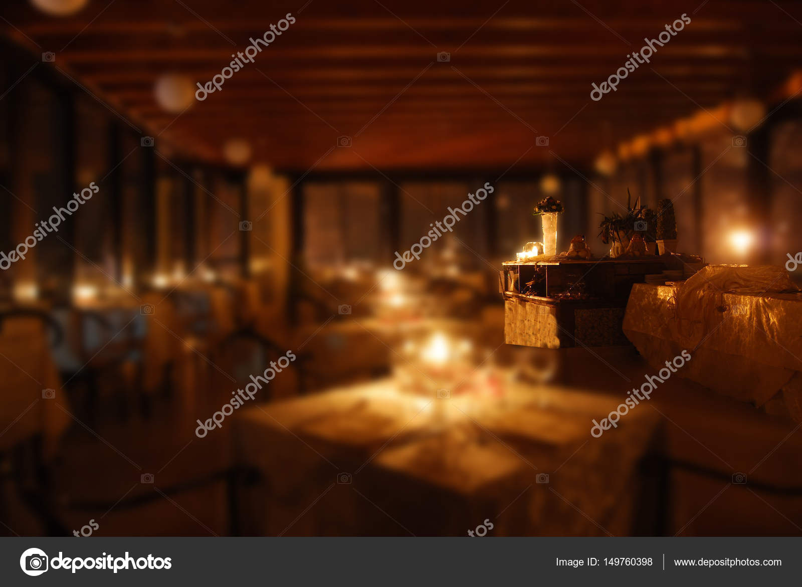 Set Tables Of A Restaurant By Candlelight U2014 Stock Photo