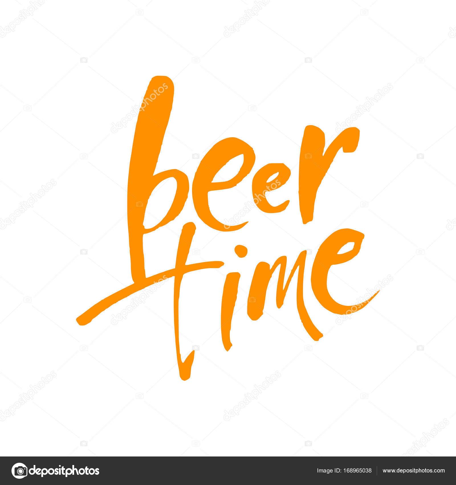 Bier De Tijd Tijd Om Te Drinken Belettering Vectorillustratie Voor Het Web Poster Uitnodiging Om Te Feesten Vector Van Antoshkaforever