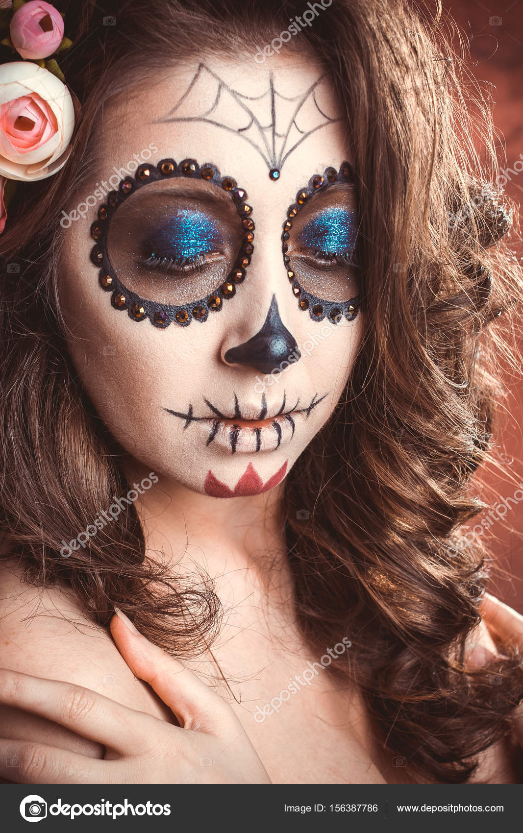 Mujer de maquillaje de Halloween de la Santa Muerte Foto de stock