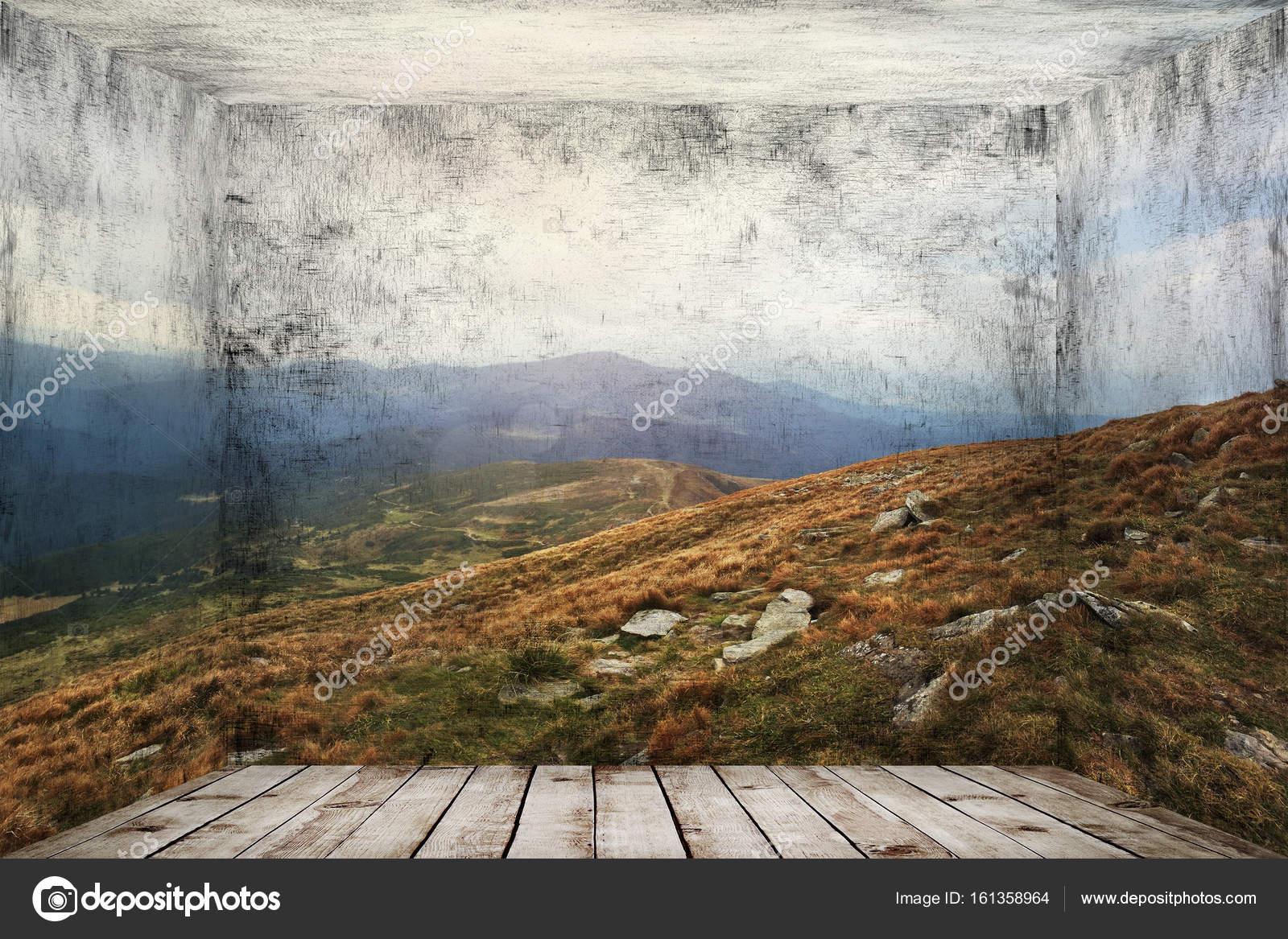 Resumen cuarto con paisaje de montañas en el fondo de la pared ...