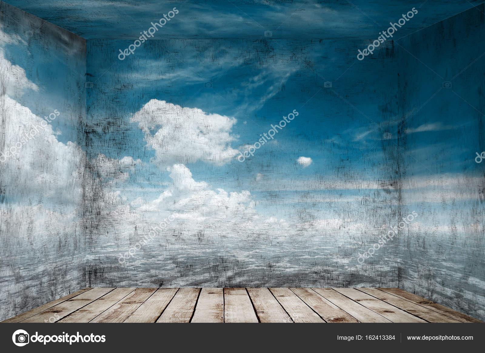 Resumen cuarto con paisaje marino en el fondo de la pared — Foto de ...