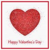 Csillogó piros szív alakú fehér háttérhez képest. Valentin-napi üdvözlőlap