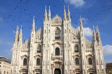 Milan Cathedral with ominous birds