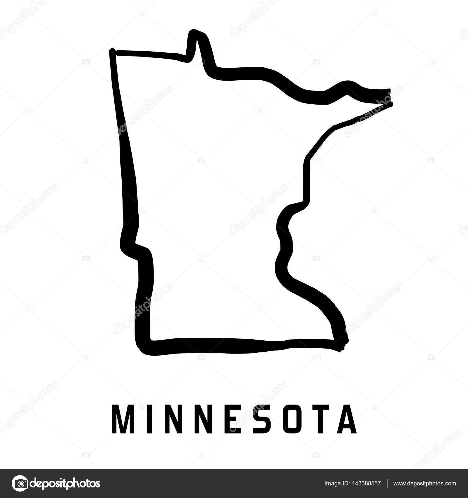 Beautiful Minnesota State Map Outline   Smooth Simplified US State Shape Map Vector.  U2014 Vector By Tupungato