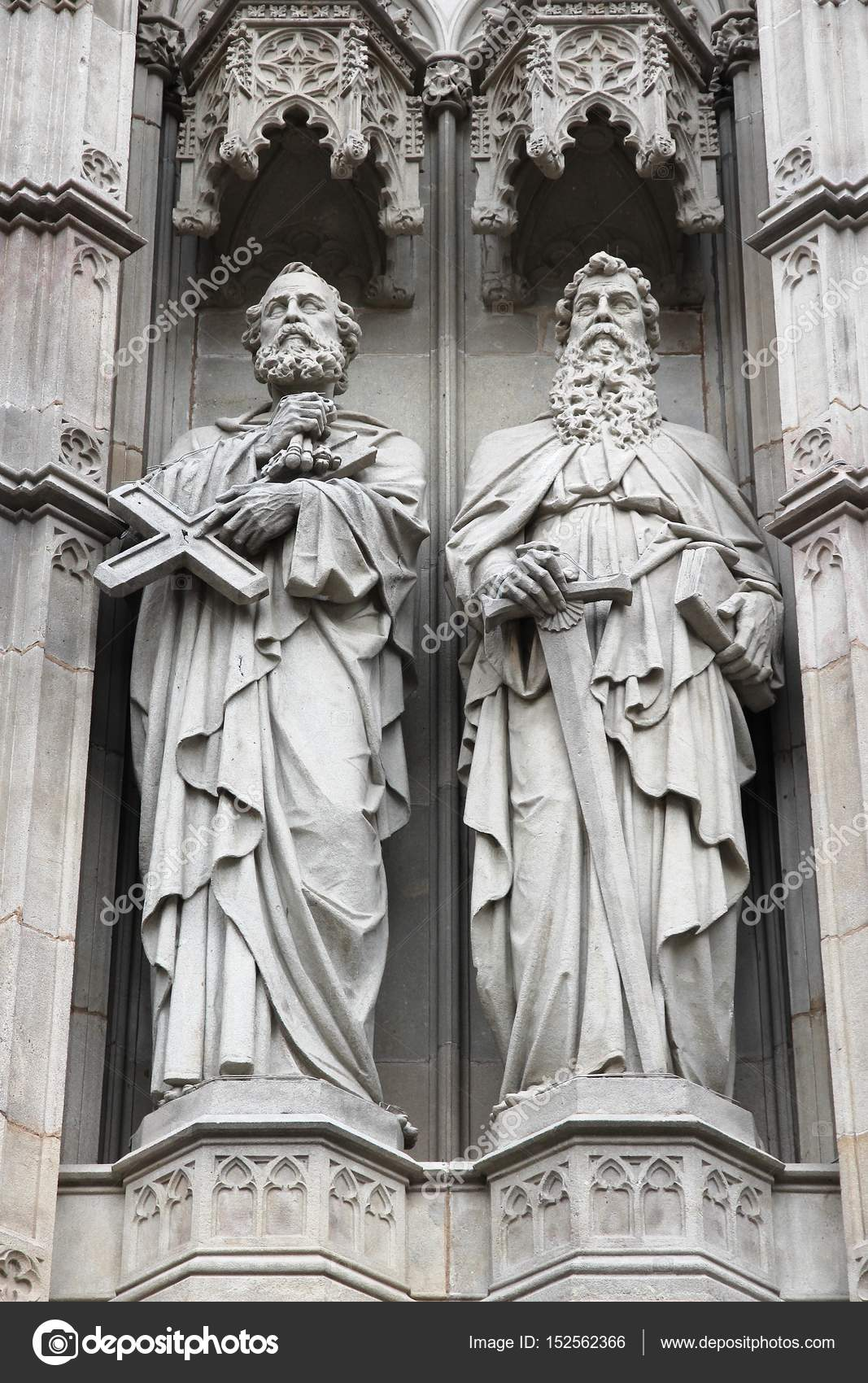 Barcelona In Catalonia, Spain   Gothic Cathedral Detail View. Saint Peter  And Saint Paul Statues. U2014 Photo By Tupungato