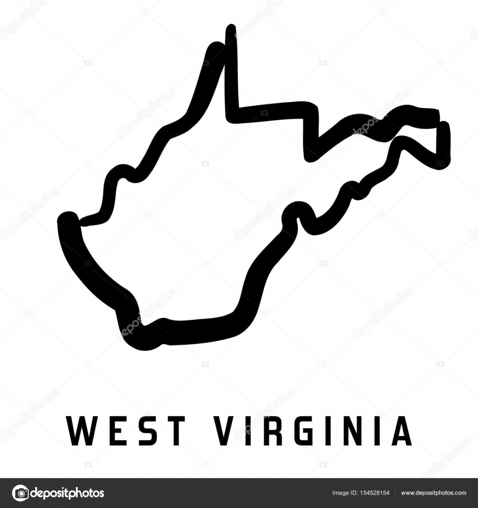 west virginia simple logo state map outline smooth simplified us state shape map vector vector by tupungato