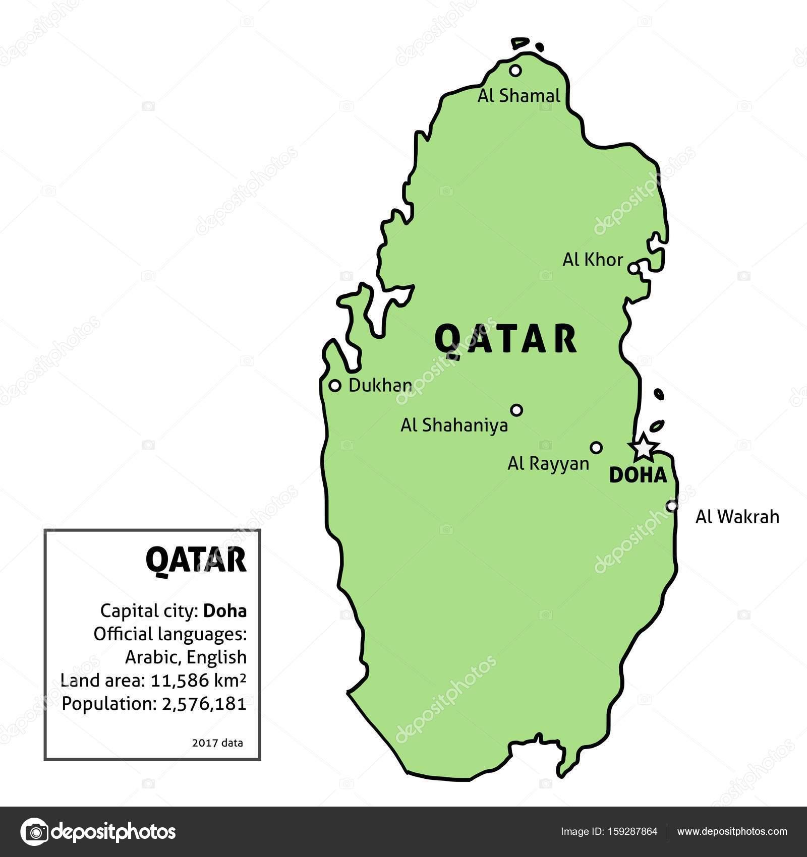カタールの地図 — ストックベクタ