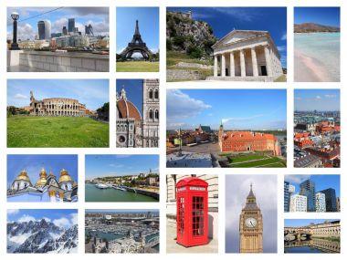 Europe landmarks collage