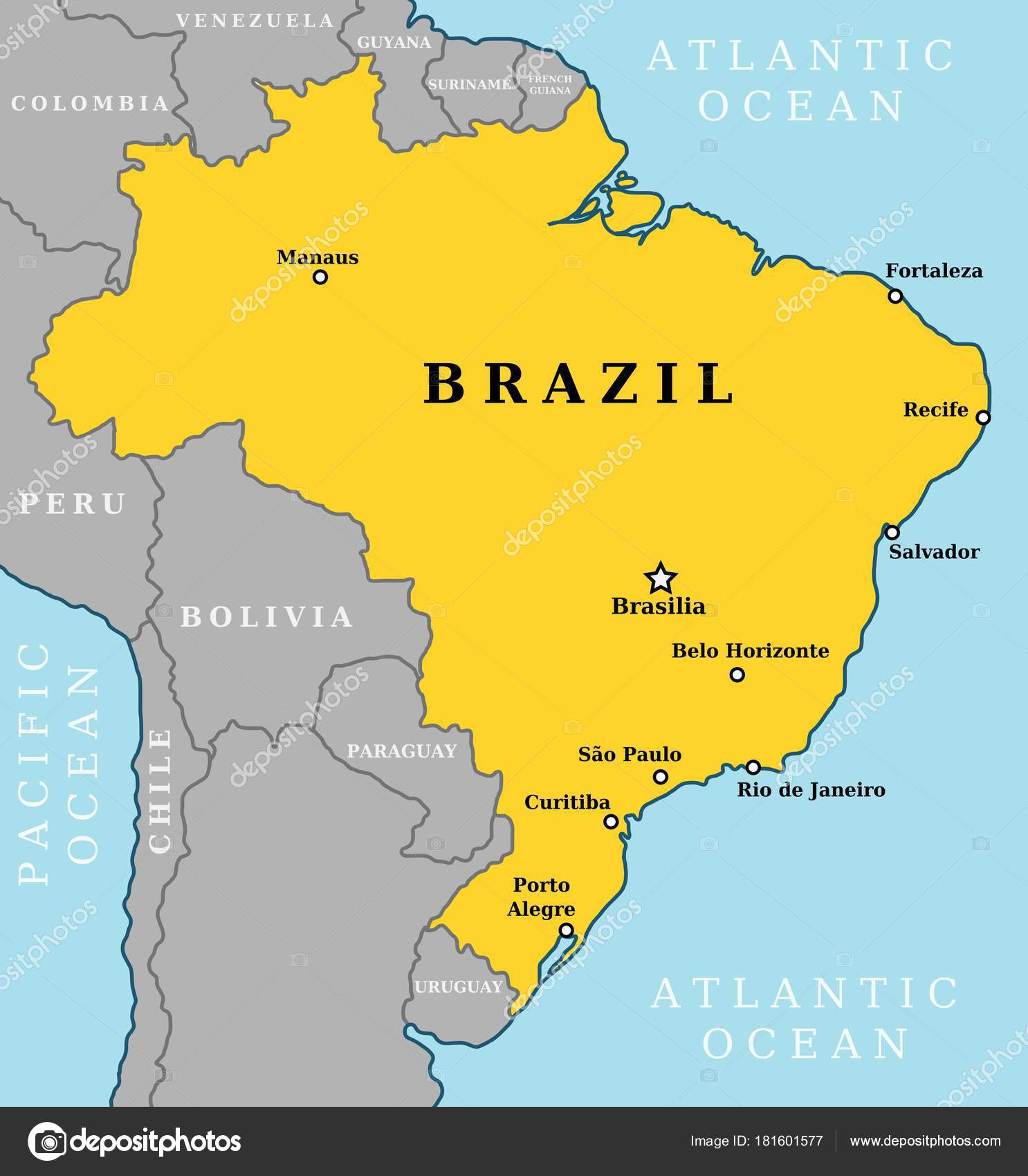 Map Brazil Country Outline Largest Cities Including Brasilia Capital ...