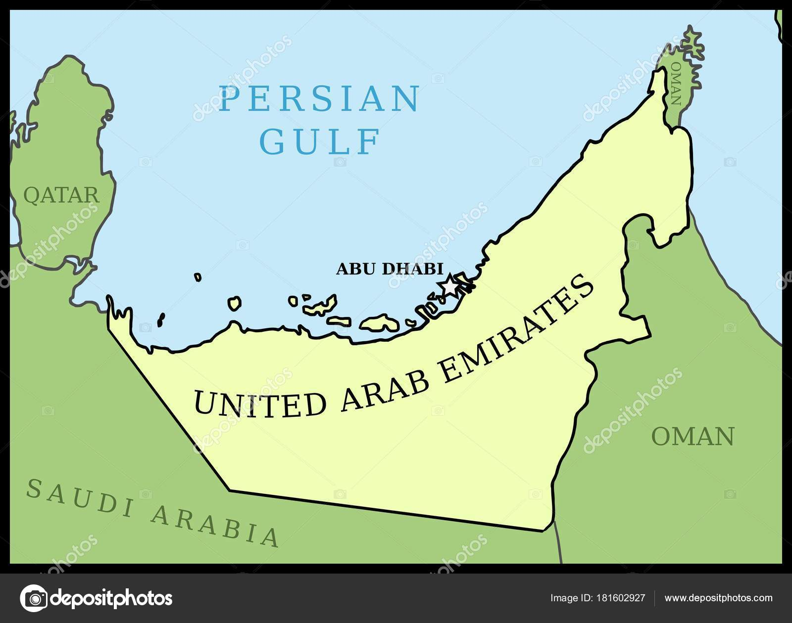 united arab emirates uae map outline vector country map stock vector