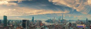 "Картина, постер, плакат, фотообои ""Аэрофотосъемка в Шанхае Бунда горизонт панорамы"", артикул 129940550"