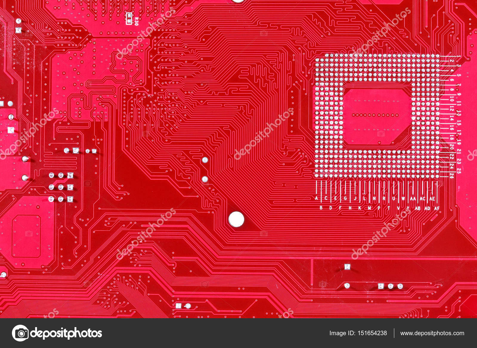 Red circuit board texture background of computer motherboard — Stock ...