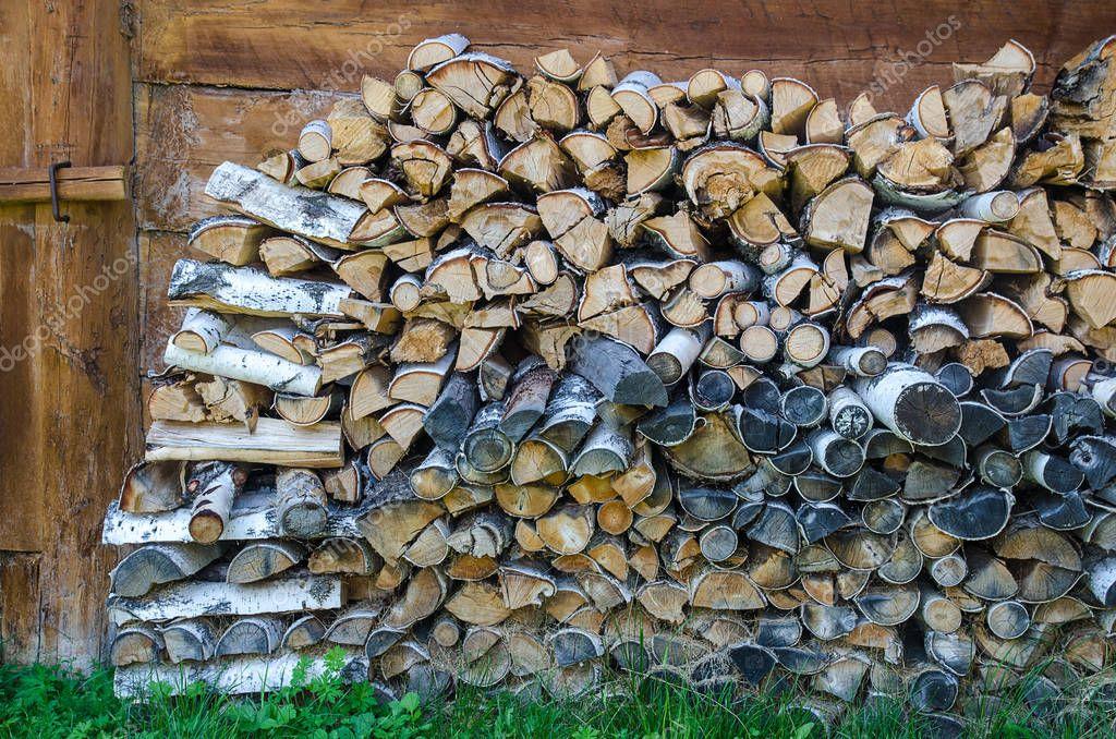 background of cut birch logs